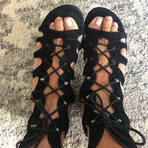 Nine West Black Cage Sandals